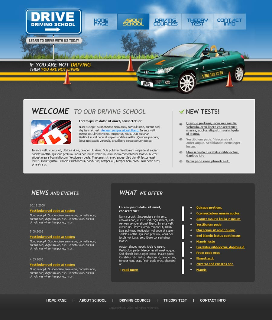 driving school website template with flash animation 110037