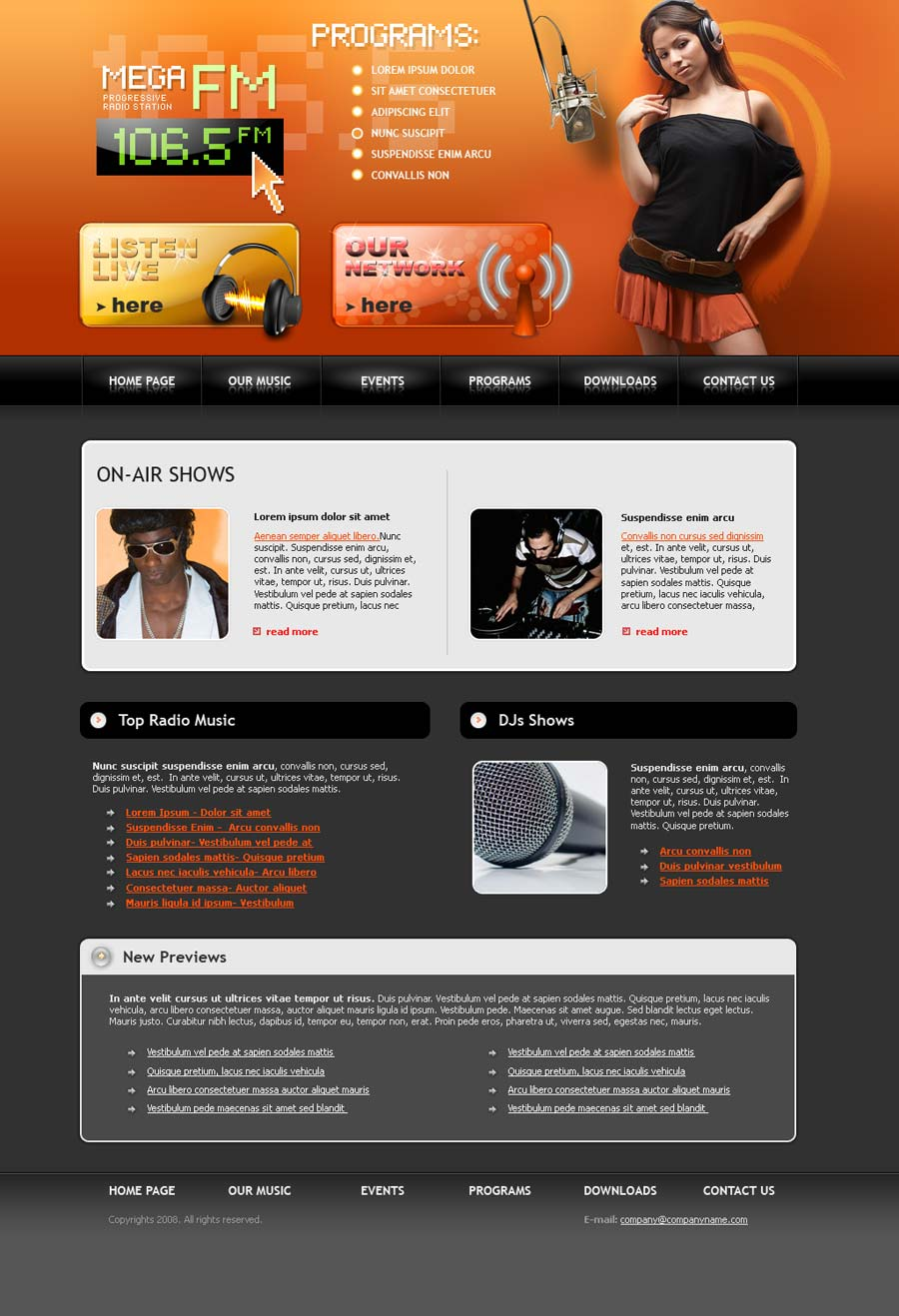 Fm Radio Website Template Id 300110027