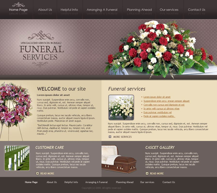 Funeral services website template id 300110071 - Funeral home web design ...