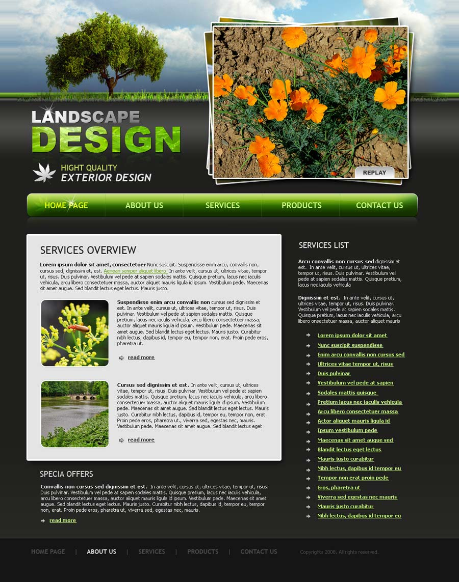 Landscape design website template id 300110026 for Landscape design services