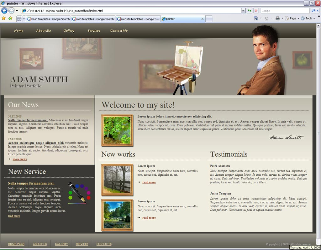 painter portfolio website