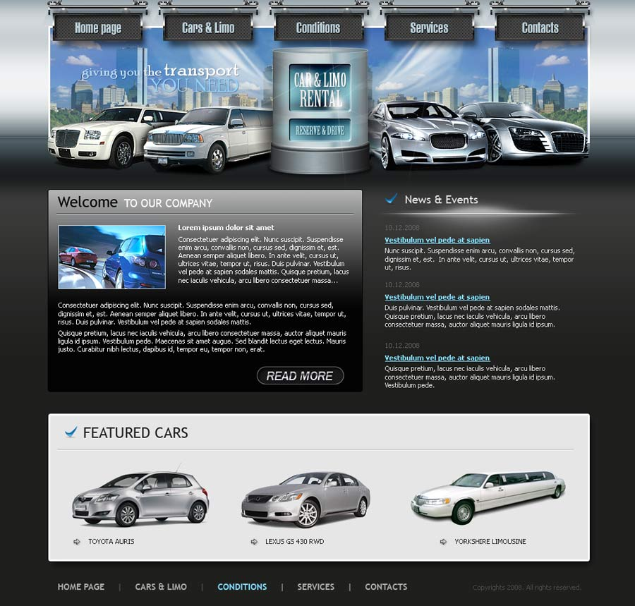Cars rental website template | Best Website Templates