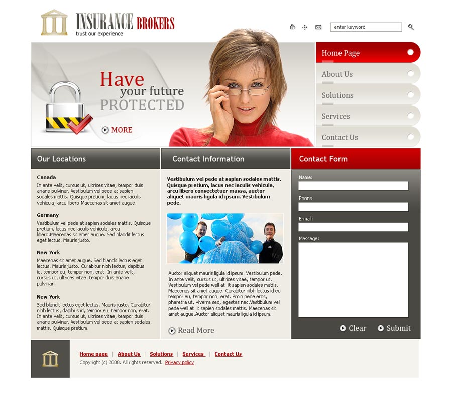 Insurance Brokers Website Template Id 300110098