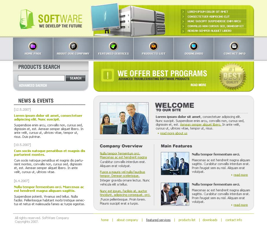 software website template. Black Bedroom Furniture Sets. Home Design Ideas