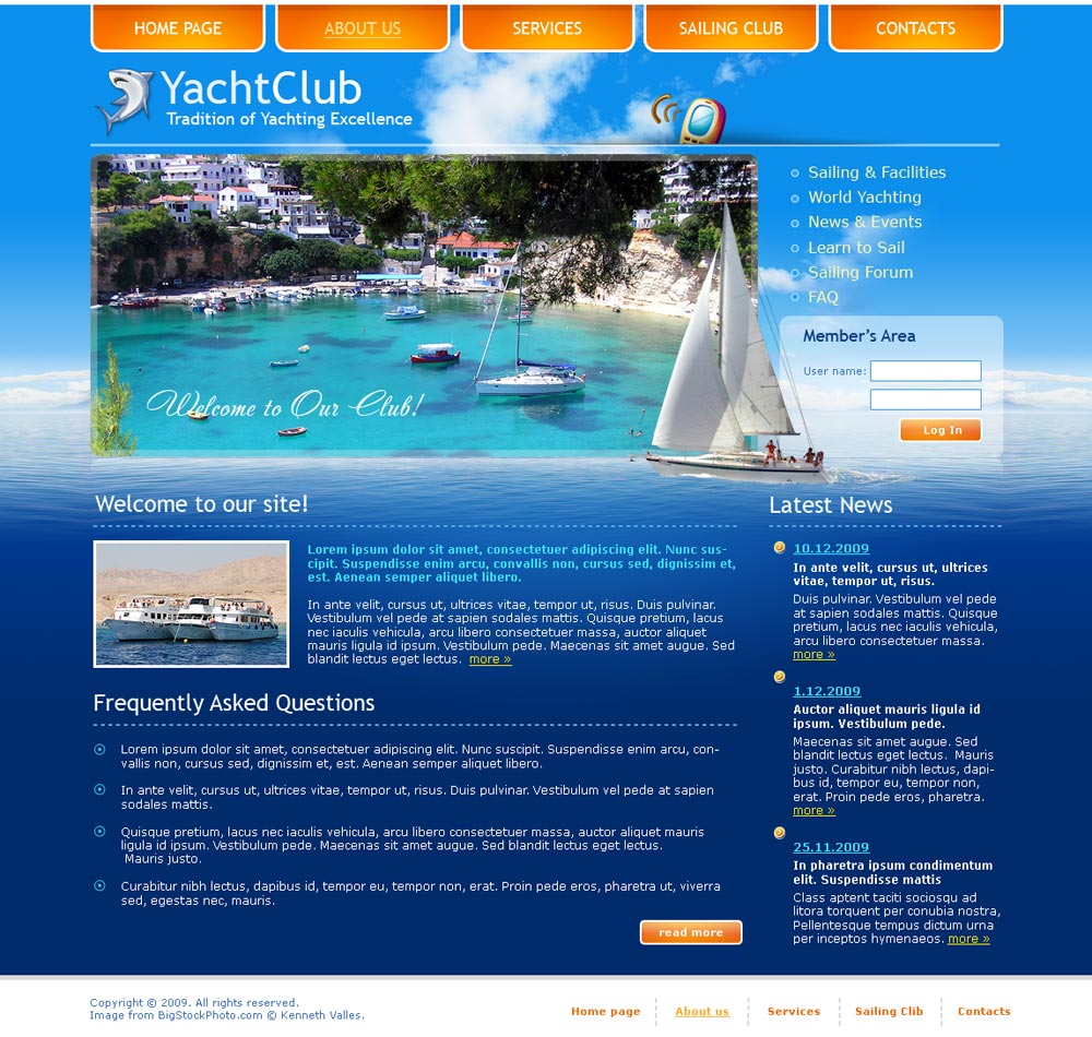 Yacht club html website template best website templates preview about us page toneelgroepblik Image collections