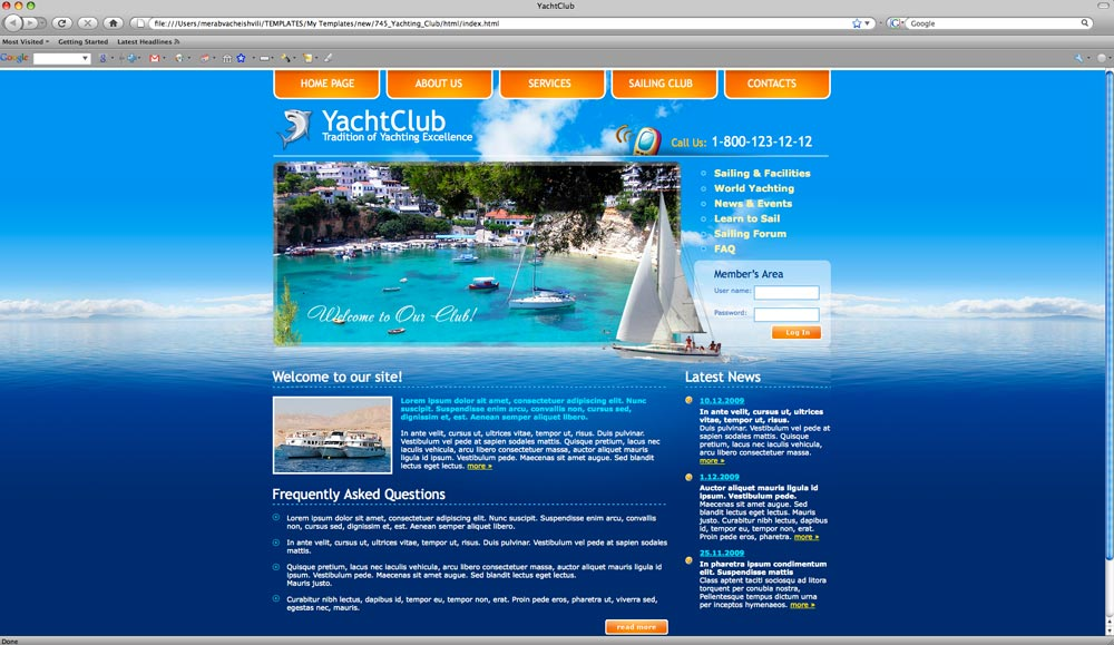 Yacht club html website template best website templates yacht club website demo toneelgroepblik Image collections