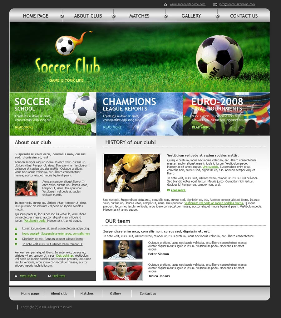 Soccer Club Html Website Template Best Website Templates