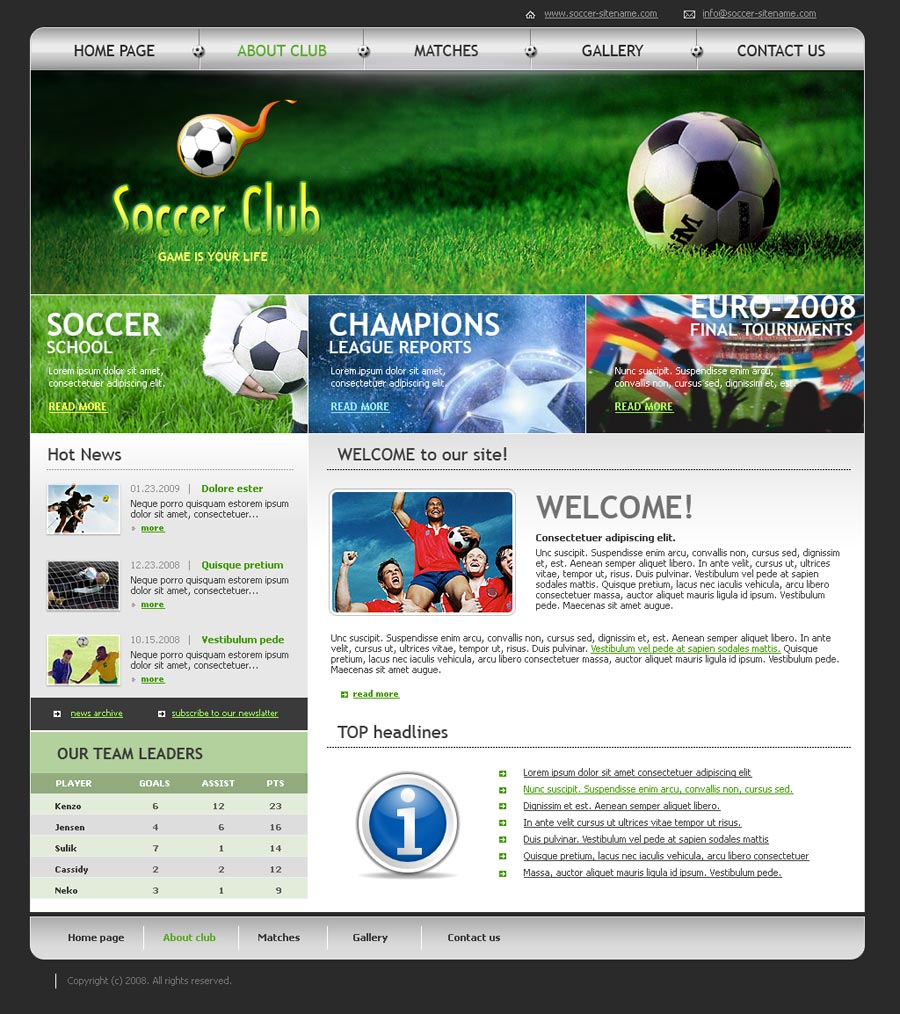Soccer club HTML website template | Best Website Templates