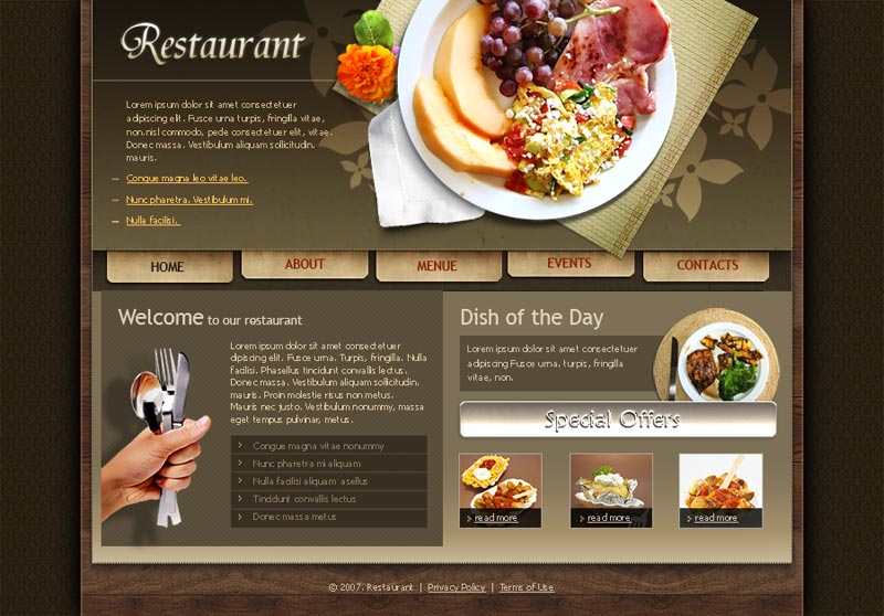 restauranthtml template at www