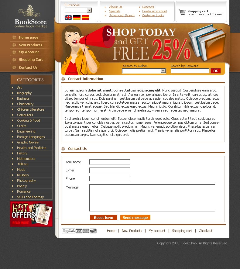 Book store HTML template ID300109751 – Contact Book Template